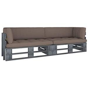 vidaXL Pin Imprégné de Gris Canapé Palette 2 Places avec Coussins Sofa de Terrasse Canapé d'Extérieur Meuble de Terrasse Meuble d'Extérieur Salon