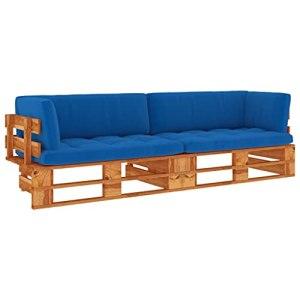 vidaXL Pin Imprégné de Marron Miel Canapé Palette 2 Places avec Coussins Canapé d'Extérieur Sofa de Terrasse Meuble de Terrasse Meuble d'Extérieur