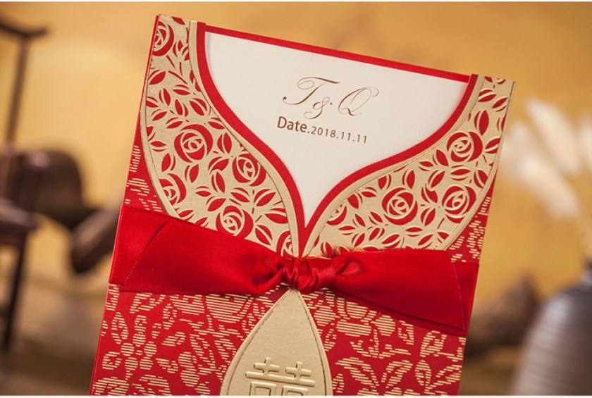 Gold Pendant Design Double Happiness Red Chinese Wedding Invitations 50