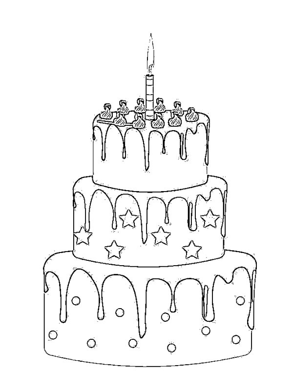 Birthday Cake Coloring Page 1001coloring Com