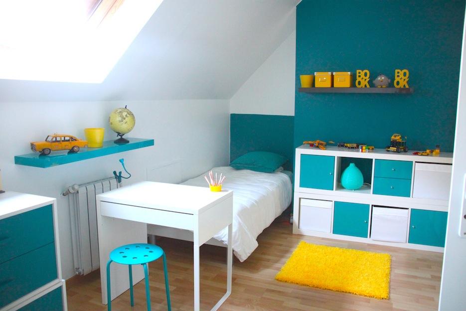 chambre d enfant jaune et bleu chambre