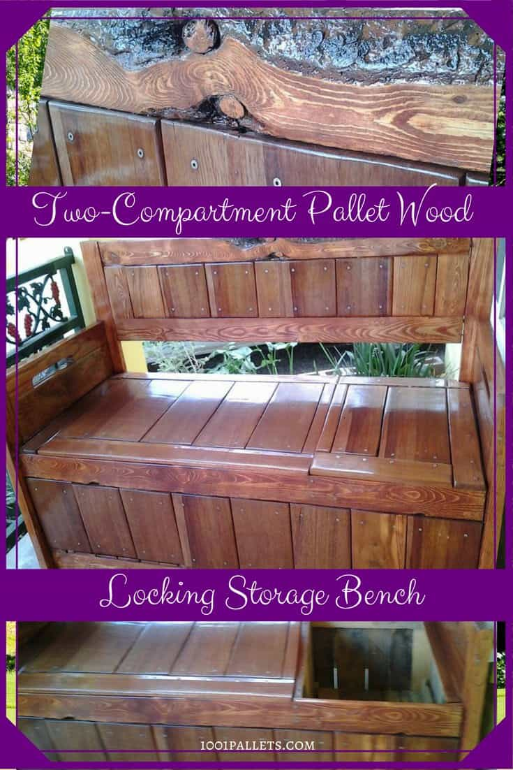 Diy Pallet Storage Bench Has Two Compartments 1001 Pallets