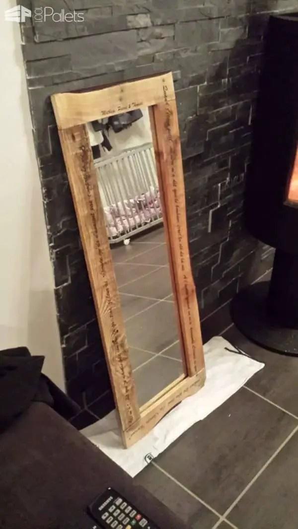 Pallet Mirror Miroir En Palette Recycle Avec Inscriptions 1001 Pallets