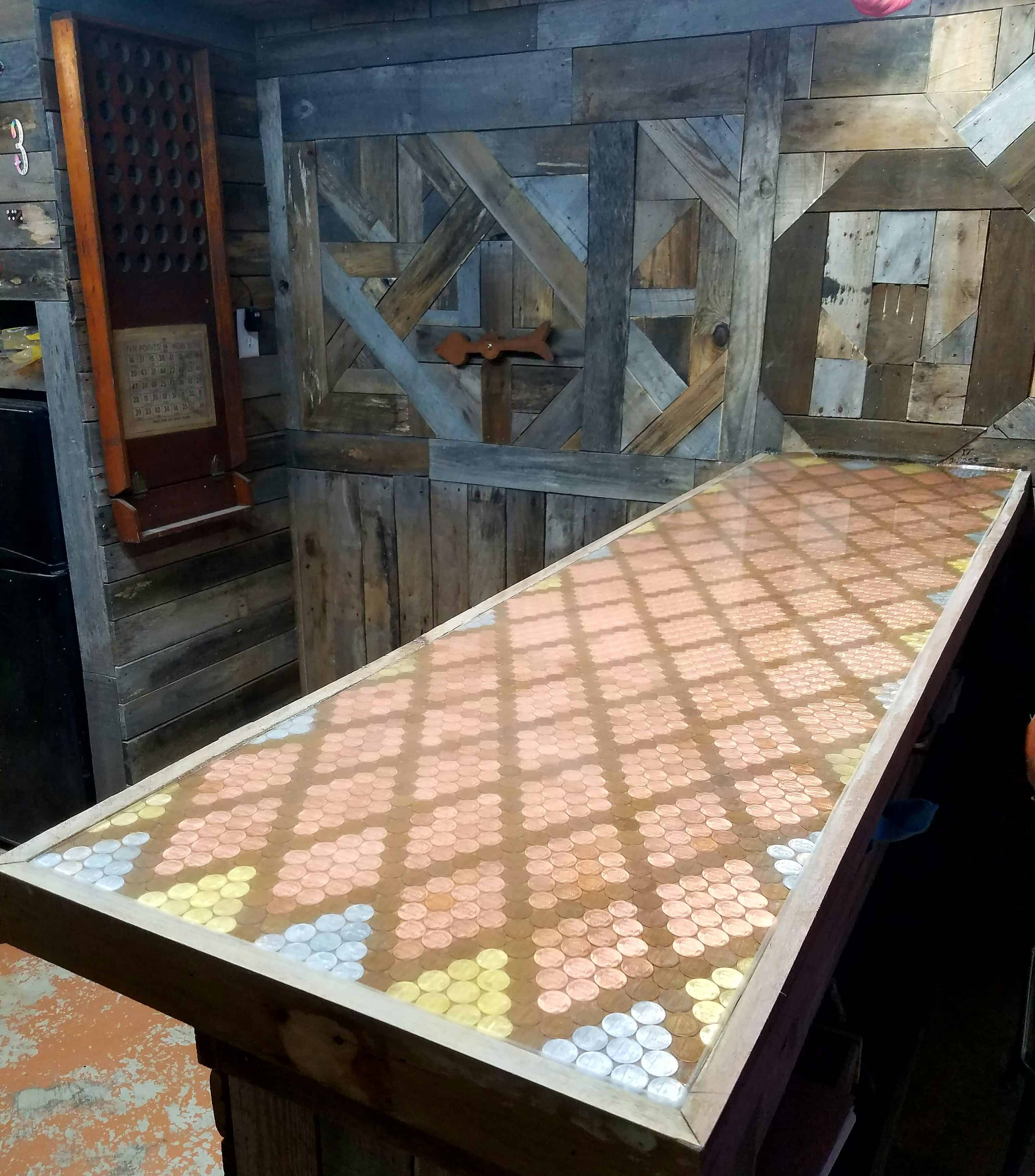 Pallet Bar Featuring Epoxy Penny Top 1001 Pallets