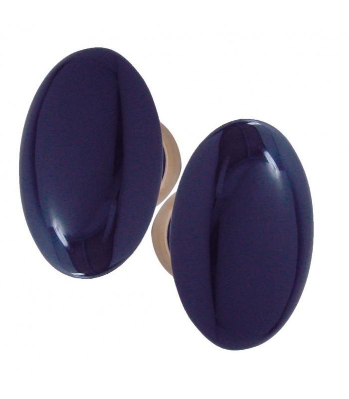 poignee double ovale pour porte interieure porcelaine de limoges bleu de four sur laiton poli5h048 1001poignees votre specialiste de la poignee de