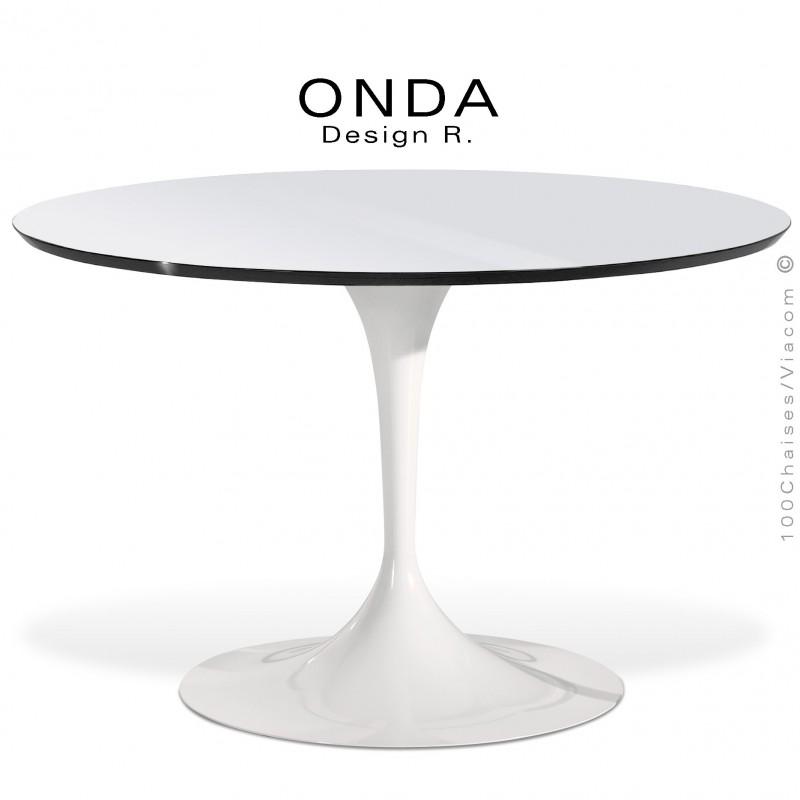 table ronde design onda pietement acier tourne peint plateau stratifie