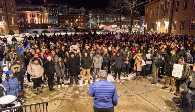 'Who's next?': Biracial, LGBT college student joins hundreds to protest immigration ban