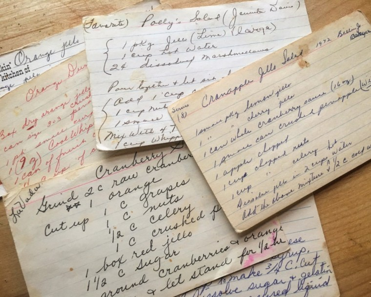 Handwritten Jell-O recipe cards.