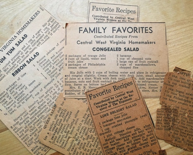 Recipe newspaper clippings from the Clarksburg Exponent.