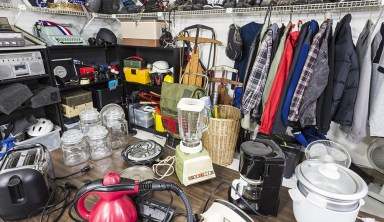 Image of clothing, appliances, and other thrift items.