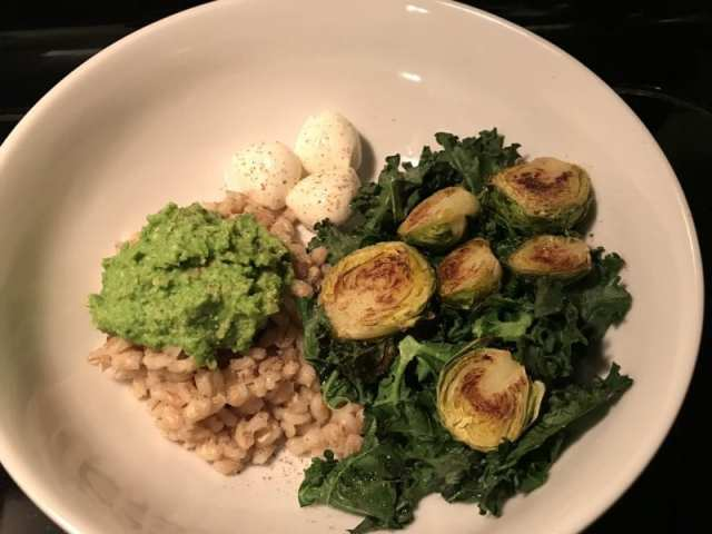 Emerald Bowl with barley, kale, roasted Brussels sprouts, mozzarella, and pea hummus