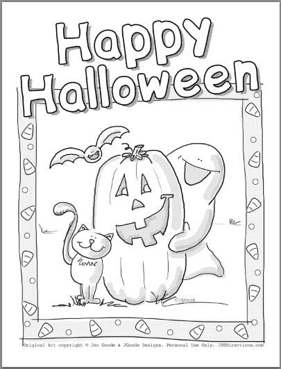 Cute halloween coloring pages 100 directions for Cute halloween coloring pages