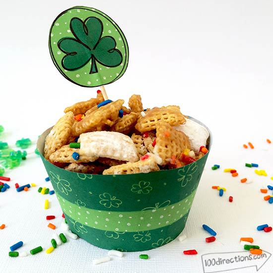 Shamrock Cupcake Flags and matching wrappers