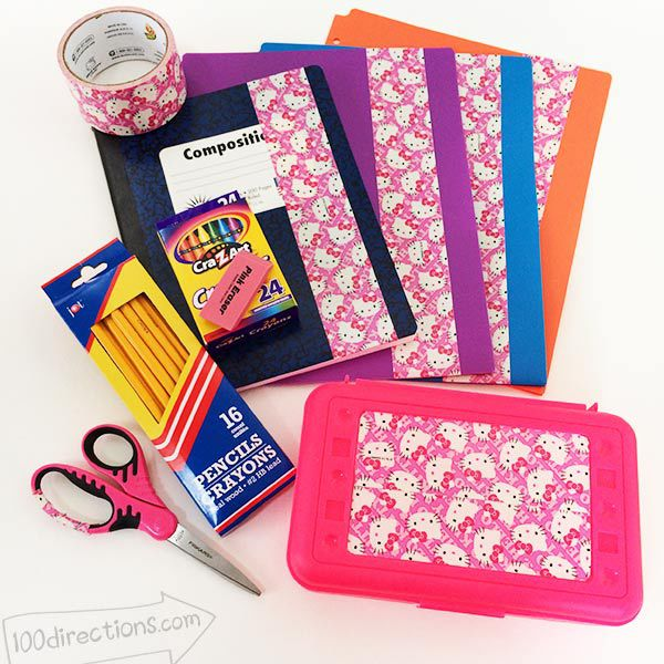 Decorate school supplies with duct tape