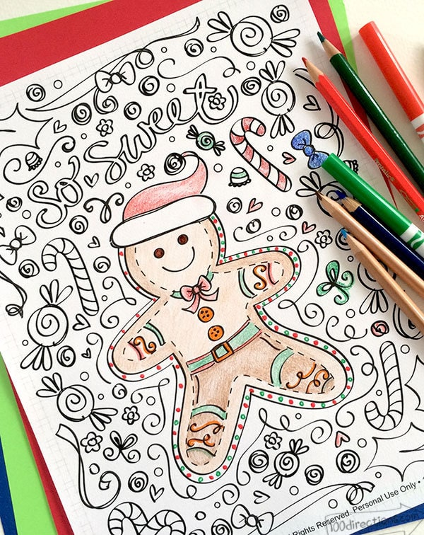 Gingerbread Man Coloring Page 100 Directions - gingerbread man coloring pages