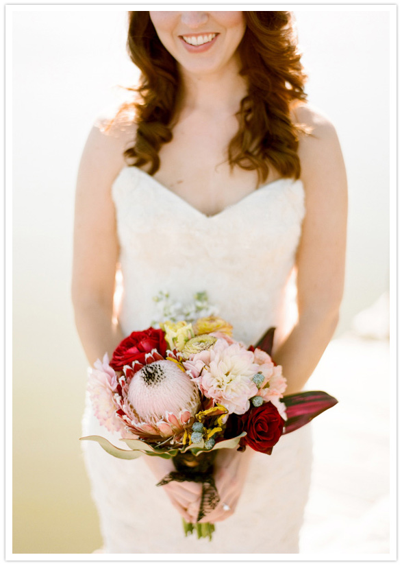 red and pink floral bouquet