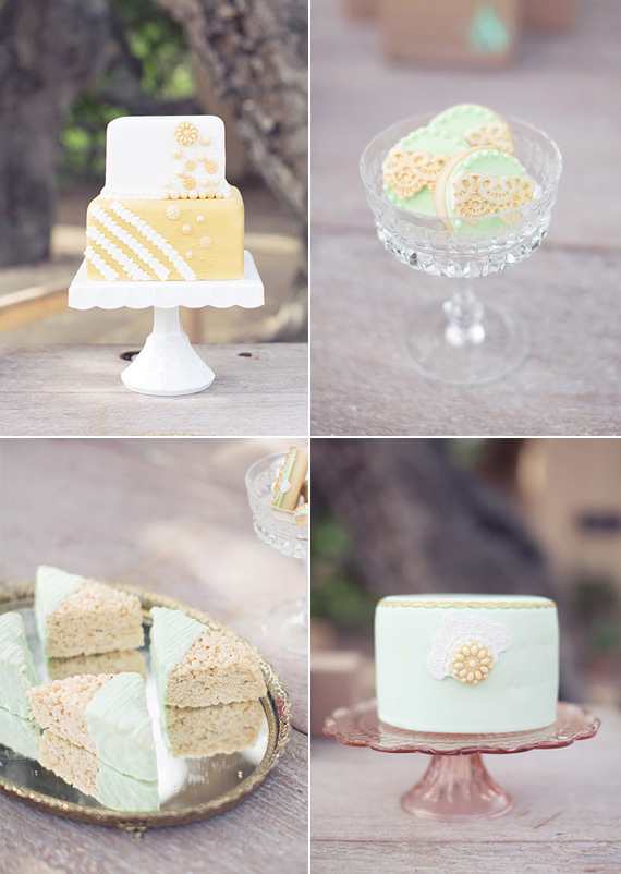 Yellow, white and mint wedding desserts | photo by This Love of Yours | 100 Layer Cake