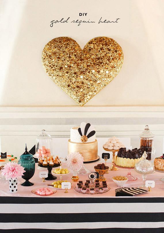 diy gold sequin heart | by Bramble Workshop | photo by Scott Clark Photo | http://www.100layercake.com/blog/