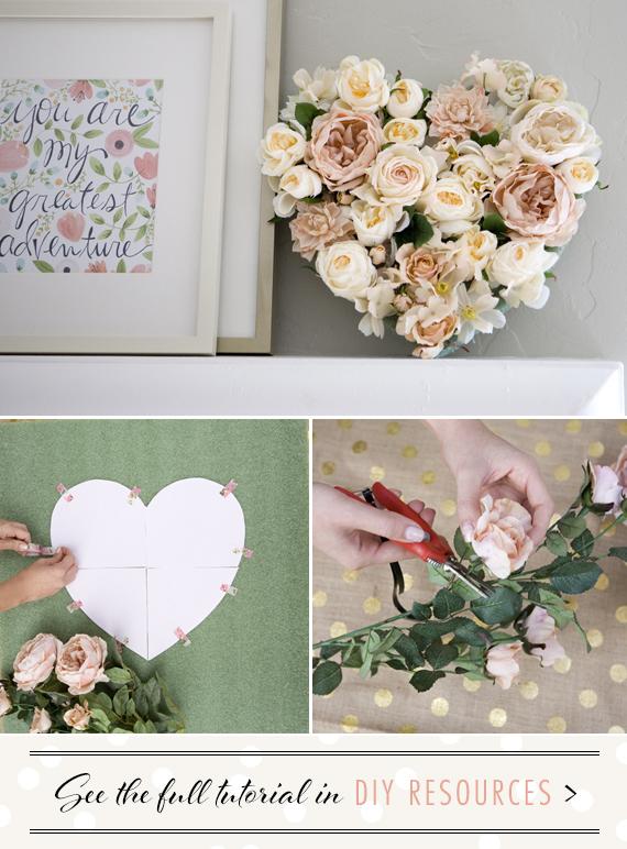DIY Floral Heart project by Nikki Kinowski | 100 Layer Cake