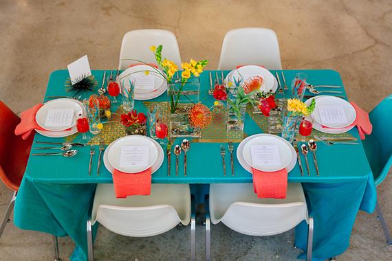 Modern Aqua Amp Orange Wedding Ideas Retro Wedding 100
