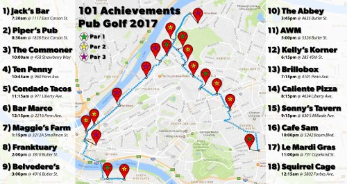 Pub Golf 2017 Map