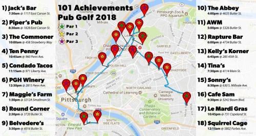 2018 101 Achievements Pub Golf Course Map