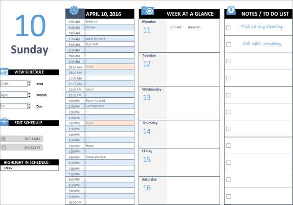 D01-Daily Schedule, Daily Work Schedule Excel, Business Planning, Building your Business, daily work schedule, daily work schedule excel