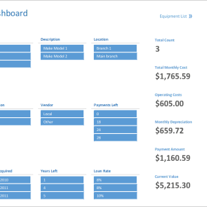 E04-Dashboard, Equipment List Excel, Financial Management, Using your money wisely, equipment list, equipment list excel