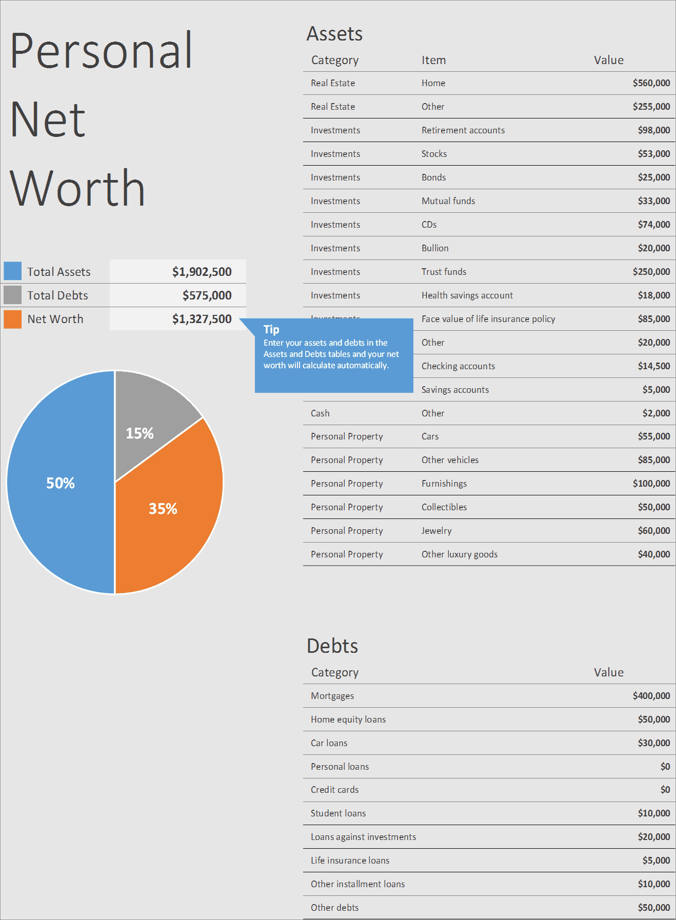 Personal Net Worth Calculator Excel