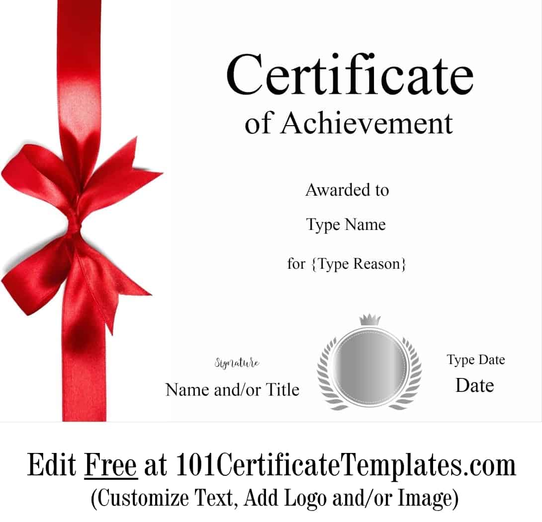 Free Printable Certificate Of Achievement Customize Online