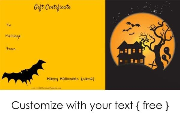 Halloween Gift Certificates