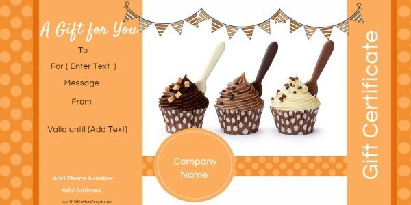 Photo Gift Certificate Templates gift certificate template in shades of orange  This example has a photo of  cupcakes but