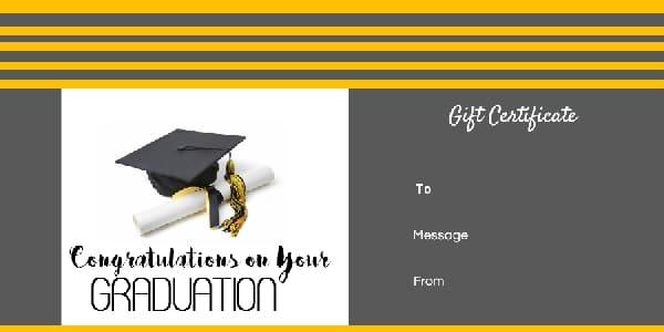Graduation Gift Certificate Template Free Amp Customizable