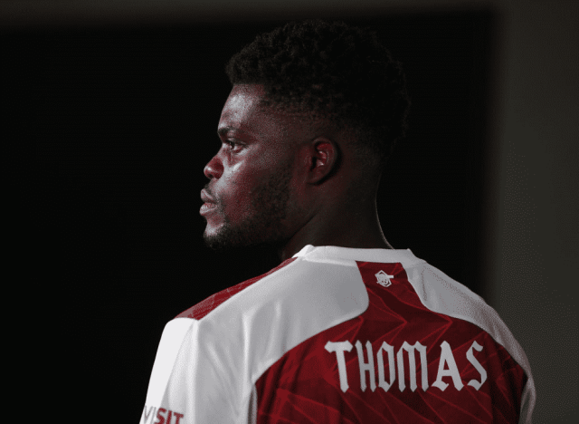 ST ALBANS, ENGLAND - OCTOBER 13: Arsenal unveil new signing Thomas Partey at London Colney on October 13, 2020 in St Albans, England. (Photo by Stuart MacFarlane/Arsenal FC via Getty Images)