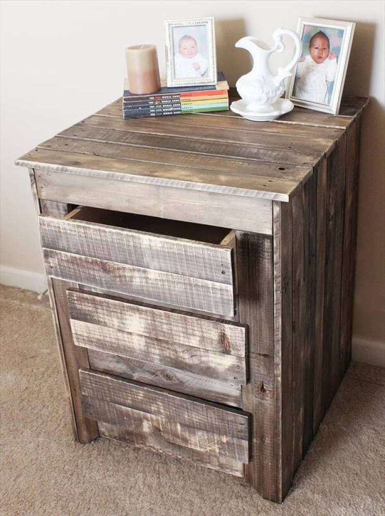 upcycled pallet nightst and with storage drawers