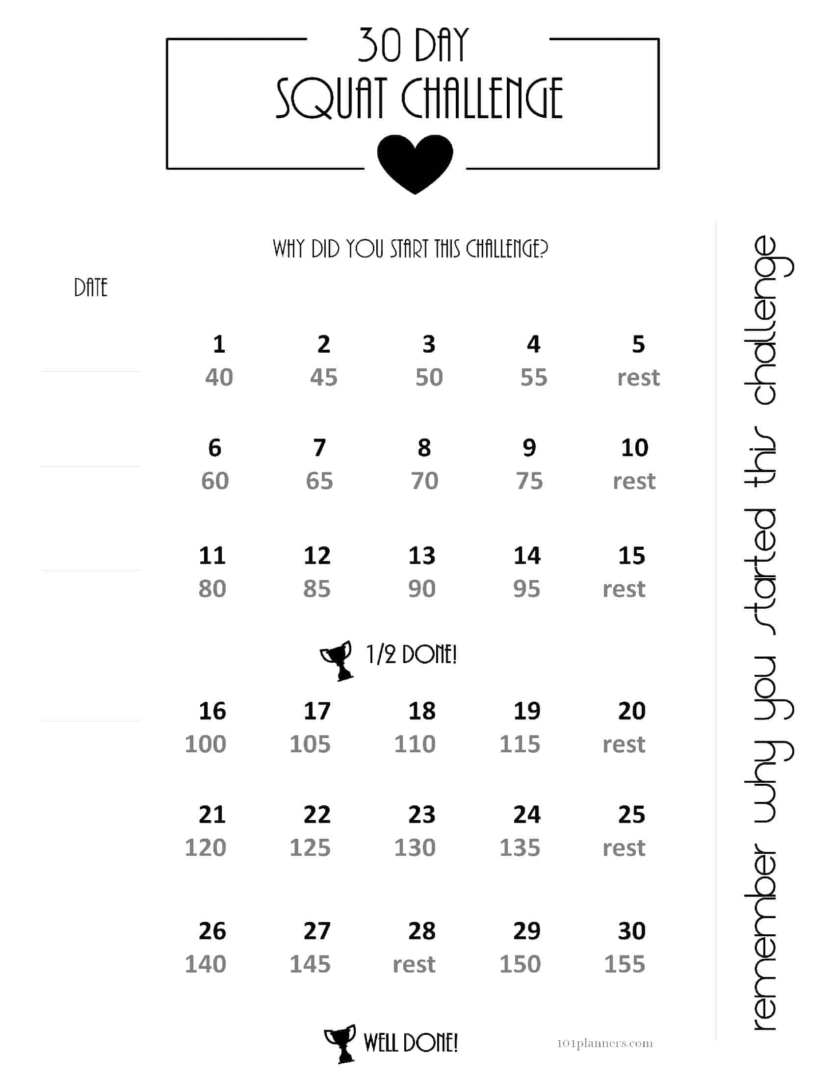 Free 30 Day Challenge Calendar