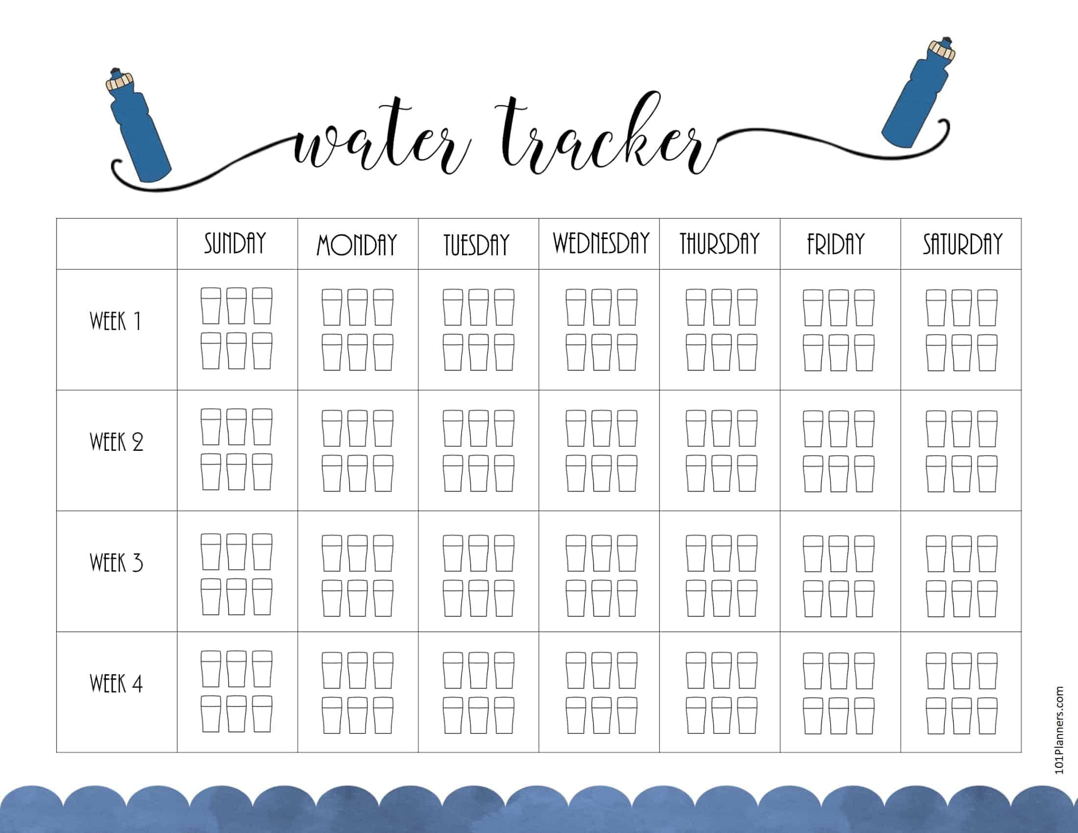 Free Printable Water Intake Chart