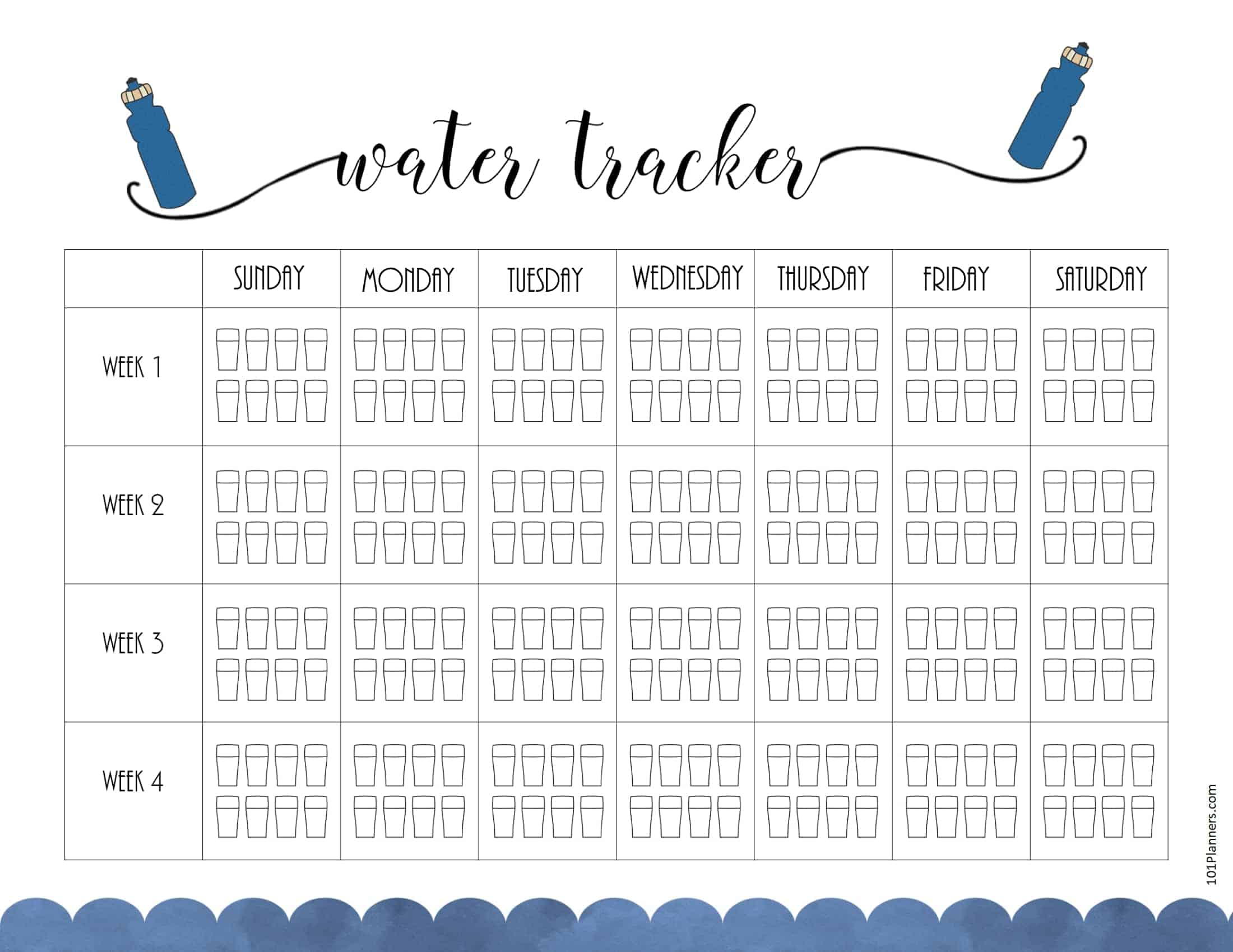 Free Water Tracker Printable