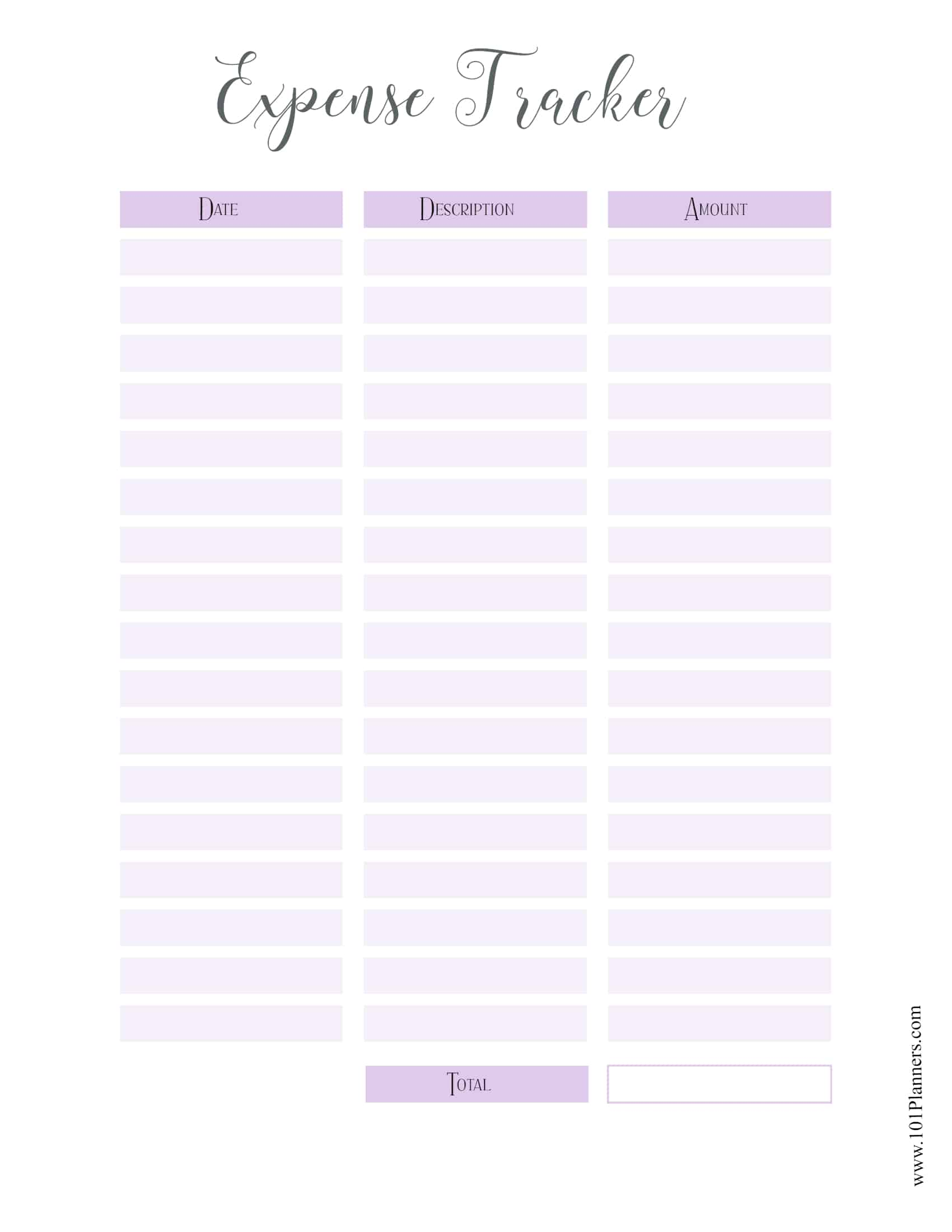 Free Expense Tracker Printable