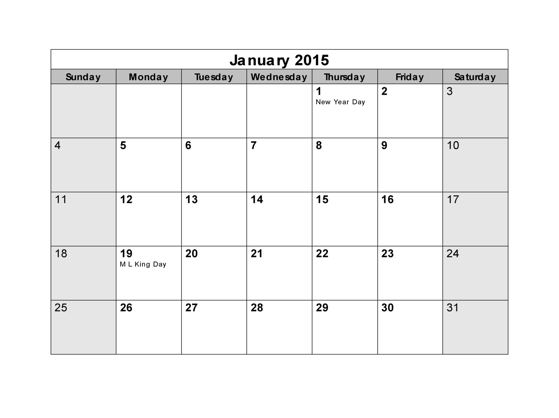 Printable Blank Monthly Calendar Part 1