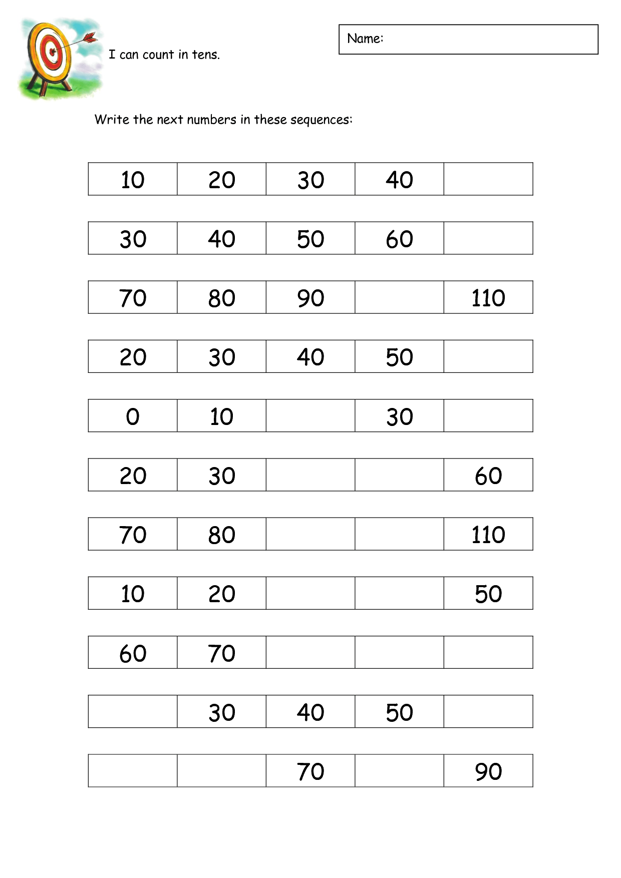 Count By 10s Worksheet