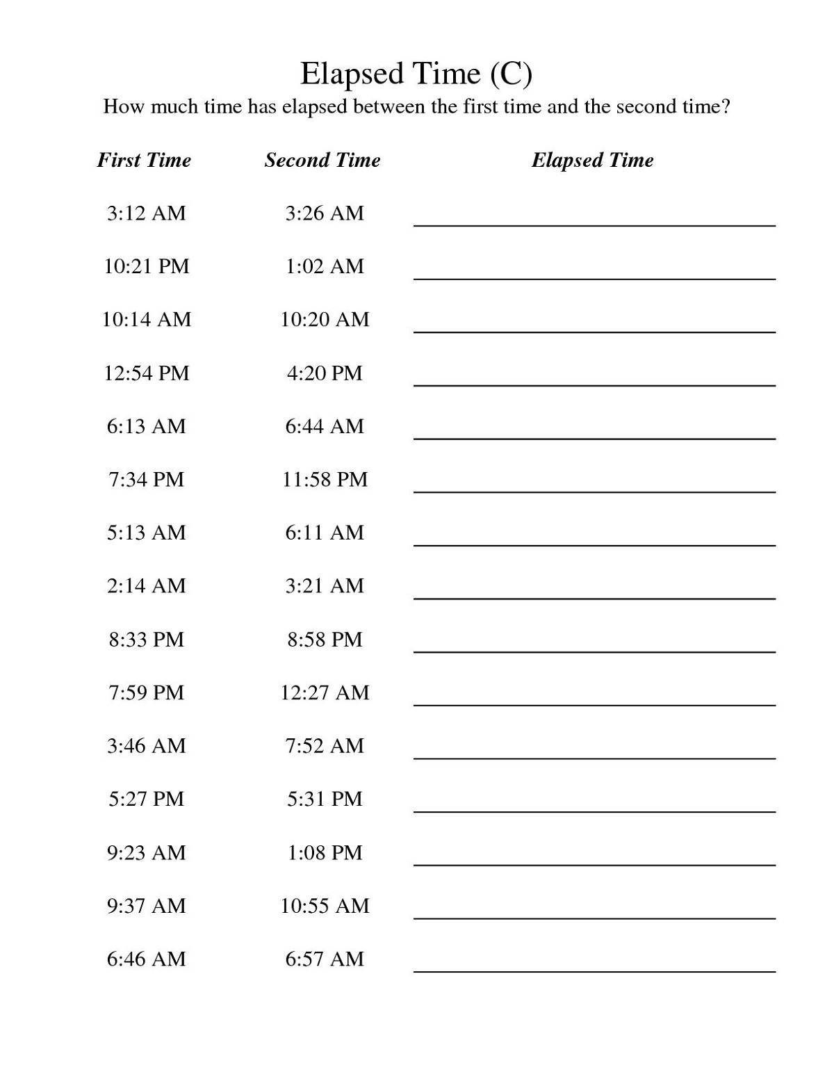 Time Elapsed Worksheet For Kids