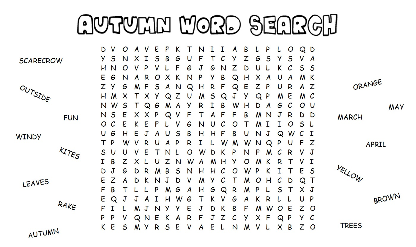Word Search Worksheet Simple