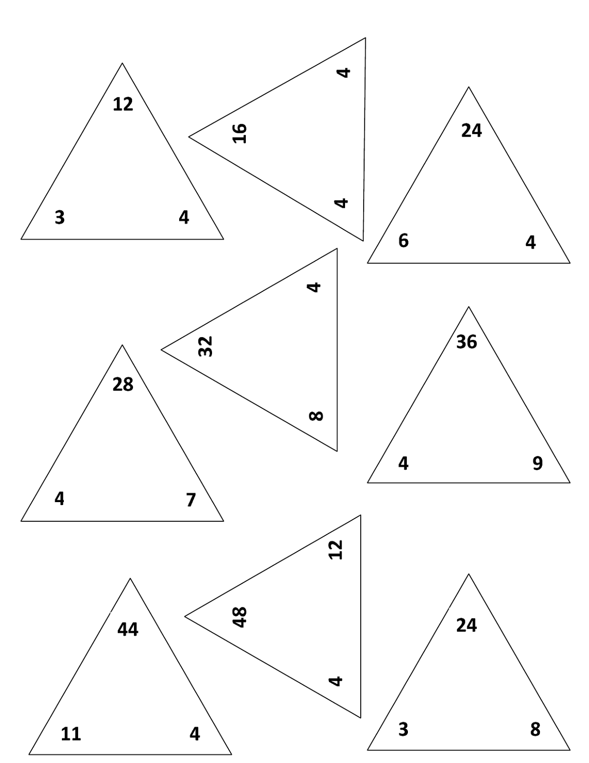 Fact Triangle Worksheets Easy