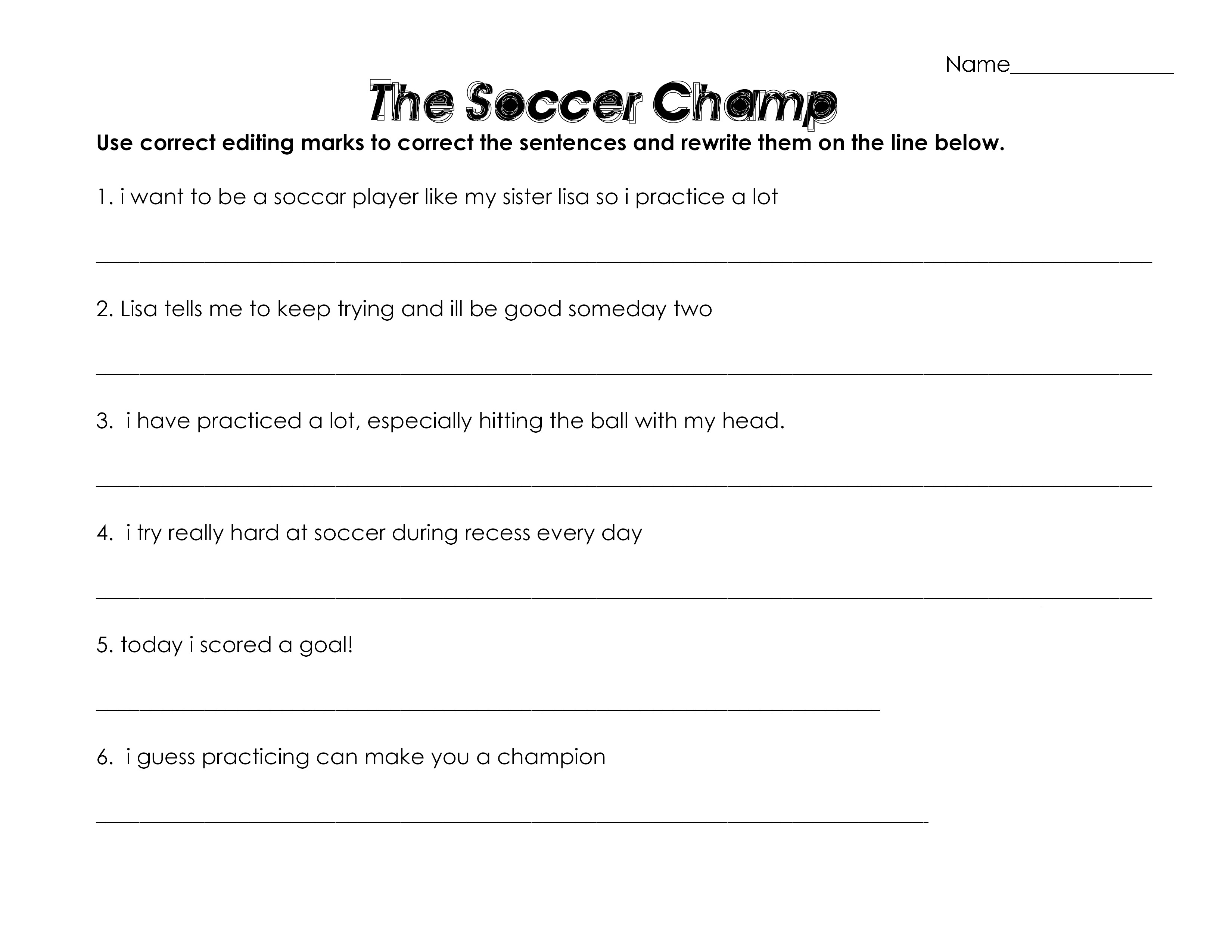 Soccer Worksheets For Kids Learning