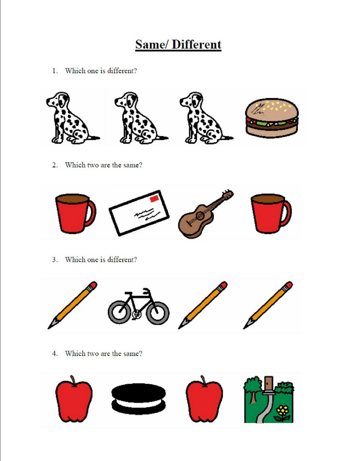 Same Or Different Worksheets Activity