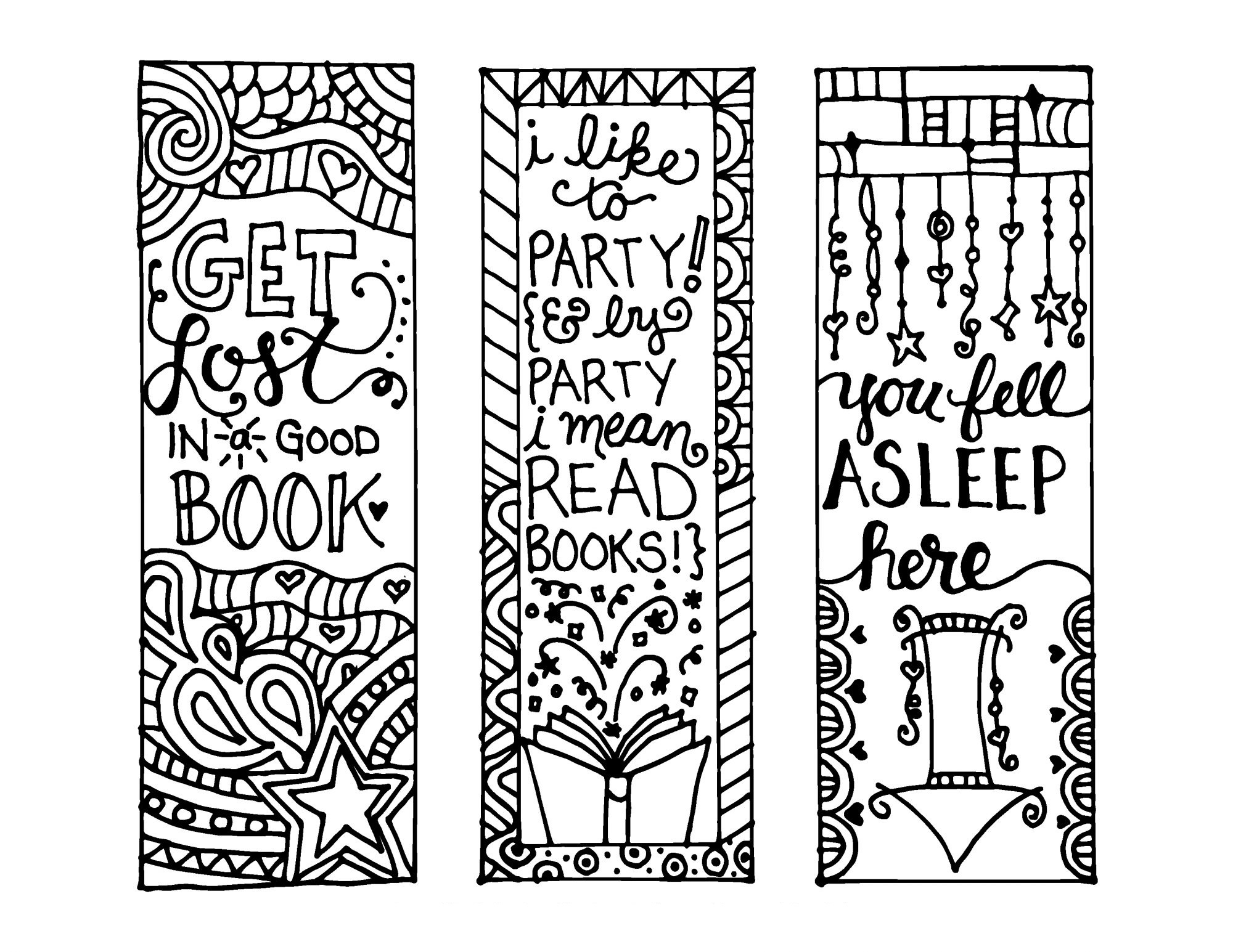 Color Your Own Bookmark Free