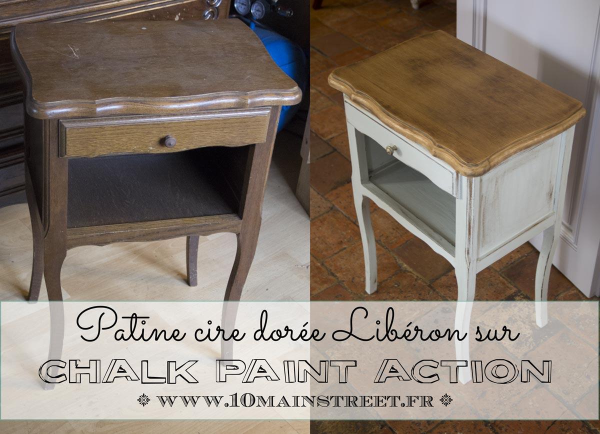 Patine A La Cire Doree Sur Chalk Paint Action Conclusion Sur Le Chevet