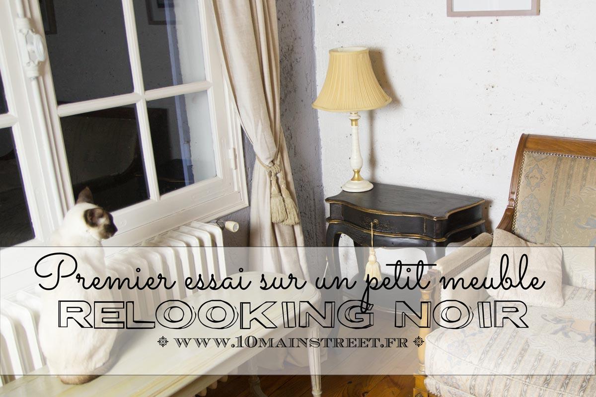 relooking noir sur petit meuble