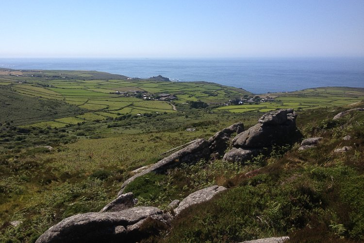 Looking out to sea from above Zennor on the South West Coast Path, Cornwall, UK. Copyright Stephanie Boon, 2018. All Rights Reserved.